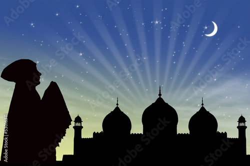 Card design of silhouette muslimah praying
