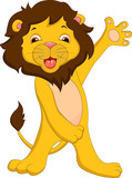 cute lion cartoon waving
