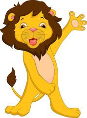 cute lion cartoon waving