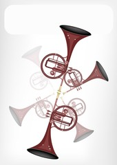 A Musical Straight Mellophone with A White Banner