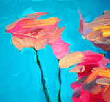 flowers of a rose and blue sky, painting by oil on canvas, backg