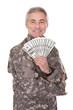 Happy Mature Soldier Holding 100 Dollar Bills
