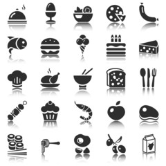 black food icons with reflection