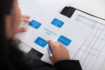 Businesswoman Studying Diagram