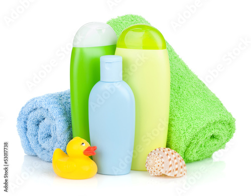 Bath bottles, towel and rubber duck