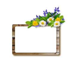 Wooden frame with green leaves, daisies, blue and yellow flowers