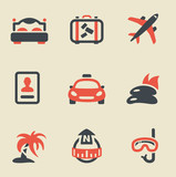 Travel black and red icon set