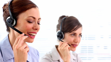 Happy call centre workers