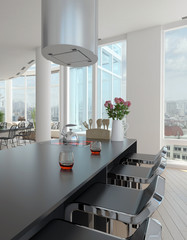 Modern design dining room interior