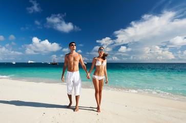 Couple on a beach at Maldives