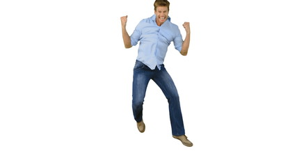 Man jumping to show his triumph on white background