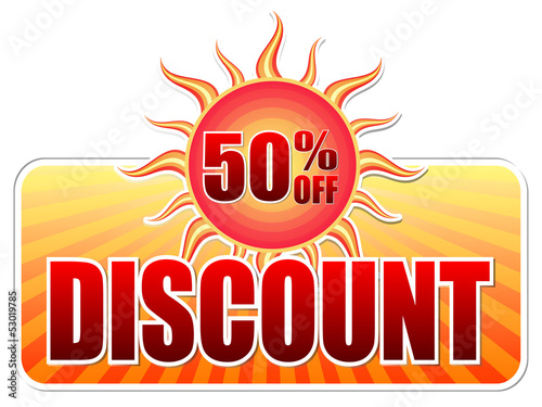 summer discount and 50 percentages off in label with sun