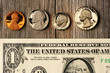US money over wooden background