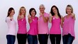 Women giving thumbs up for breast cancer awareness