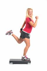 Frau auf Fitnessboard
