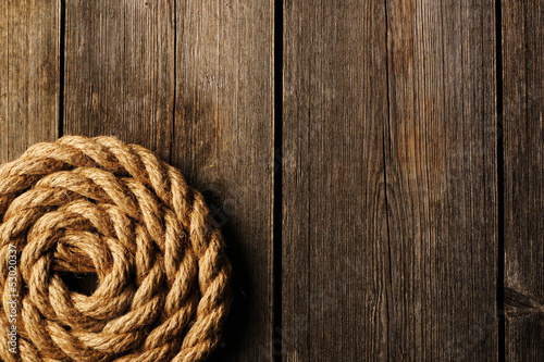 Rope over wooden background