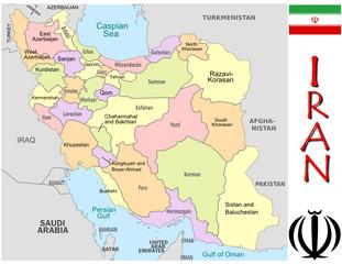 Iran Asia emblem map symbol administrative divisions