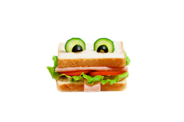 Funny sandwich for child on white background.