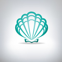 Scallop seashell. Vector.