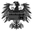 Heraldry style eagle holding a keyboard