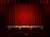 red fabric curtain on stage