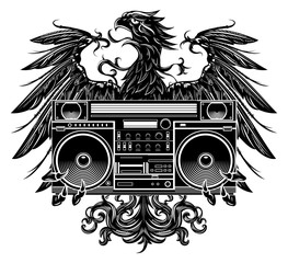 Heraldry style eagle holding a boombox