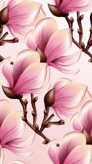 Magnolia seamless pattern