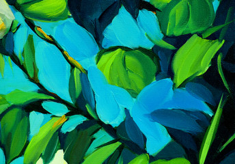 leaves against the blue sky, painting by oil on canvas, illustra