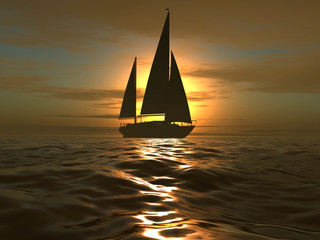 luxury yacht on sundown background