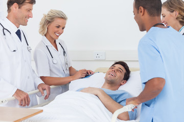 Medical team laughing