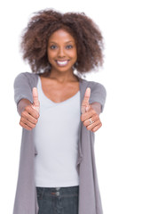 Cheerful woman giving thumbs up