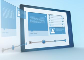 Digital tablet projecting social media profile