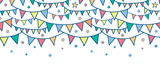 Vector colorful doodle bunting flags horizontal seamless pattern