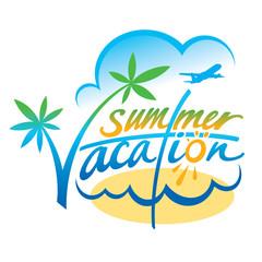 Summer Vacation beach sea sky sun palm plane leisure