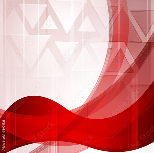 Wavy bright red backdrop with triangles