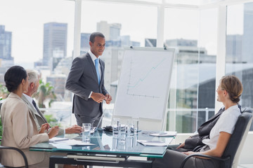 Businessman standing in front of a whiteboard