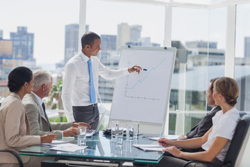Manager pointing at the peak of a chart during a meeting