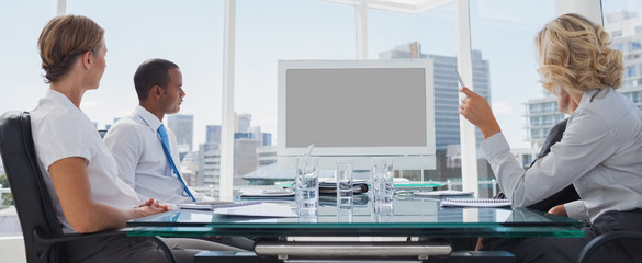 Business people gathered during a video conference