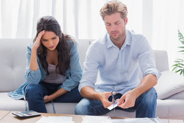 Couple doing their accounts together