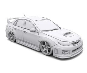 Car rendering in lines