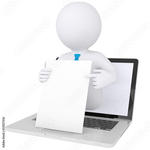 3d man out of computer holding sheet of paper