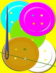 Botones de colores aguja e hilo de coser