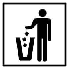 Simbolo gettare rifiuti nel cestino