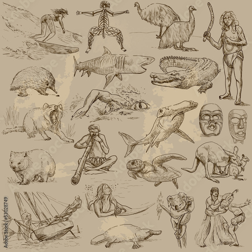 Australian collection - hand drawings into vector set