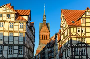 Marktkirche und die Altstadt von Hannover im Abendlicht
