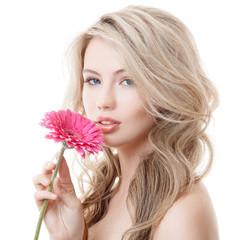 Beautiful Woman Holding Pink Chrysanthemum