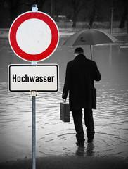 Hochwasser Warnschild