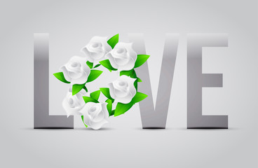 grey color Love flowers illustration designs