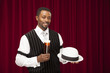 African American male bartender in retro suit