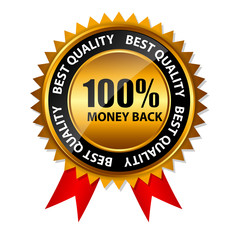 Vector 100% money back gold sign, label template